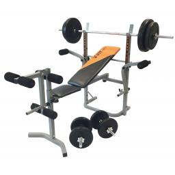 V-fit STB09-2 Bench & 50kg Weight Set