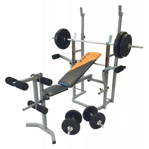V-fit STB09-4 Bench & 50Kg Weight Set
