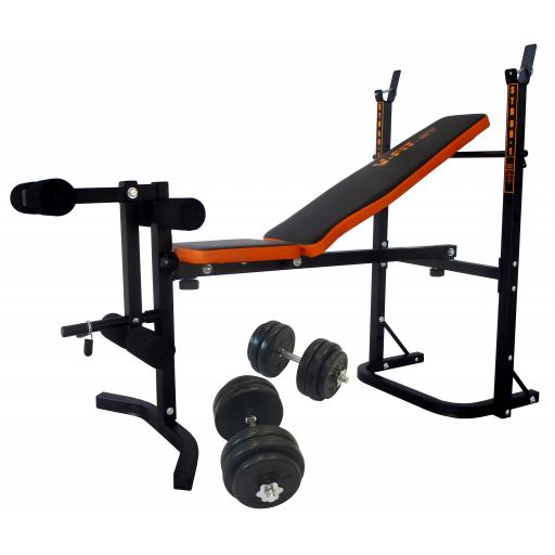 V-fit STB09-1 Bench & 30kg Dumbbell Weight Set